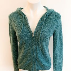Ann Taylor Loft Sweater Hoodie Turquoise Sz Small